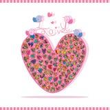 Amour grandes paires colorées d'oiseau Photo stock