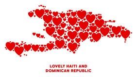 Amour Haïti de vecteur et mosaïque de carte de la République Dominicaine des coeurs illustration stock