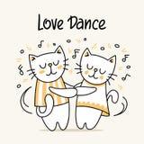 Amour heureux de chat et de minou à danser Carte animale plate d'illustration de vecteur de bande dessinée illustration libre de droits