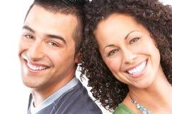 amour heureux de couples de fond au-dessus de blanc Photographie stock libre de droits