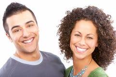 amour heureux de couples de fond au-dessus de blanc Images stock