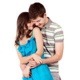 amour heureux de couples de fond au-dessus de blanc de sourire Au-dessus du fond blanc Photographie stock