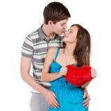 amour heureux de couples de fond au-dessus de blanc de sourire Au-dessus du fond blanc Photographie stock libre de droits