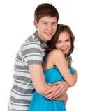 amour heureux de couples de fond au-dessus de blanc de sourire Au-dessus du fond blanc Image stock