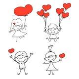 Amour heureux tiré par la main de bande dessinée Image libre de droits