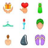 Amour icons set, cartoon style. Amour icons set. Cartoon set of 9 amour vector icons for web isolated on white background Stock Photography