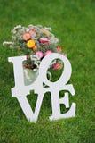 Amour - inscription en bois pour épouser sur l'herbe verte Image stock