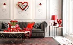 Amour - intérieur classique de luxe moderne pour le jour du ` s de valentine Livin Photographie stock libre de droits