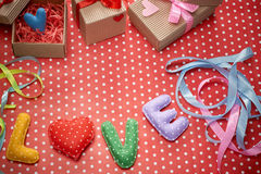 Amour, jour de valentines Points de polka de Word, coeur, ruban Photos libres de droits