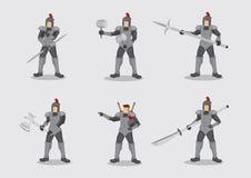 Amour kostiumu bitwy wojownik Zbrojący z broń charakteru wektoru bolączką ilustracja wektor