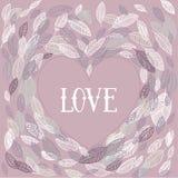 Amour Le jour de Valentine Carte de vecteur avec des feuilles Images stock