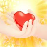 Amour Les mains humaines tiennent un coeur Image libre de droits