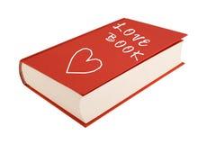 Amour-livre rouge d'isolement sur un fond blanc Images libres de droits