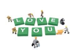 Amour miniature de mot de renforcement d'équipe de travailleur vous Photo libre de droits