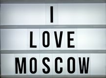Amour Moscou du caisson lumineux i Images stock