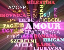 Amour multilanguage wordcloud background concept glowing Royalty Free Stock Images