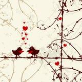 Amour, oiseaux embrassant sur le branchement illustration stock
