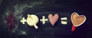 Amour ou concept de jour du ` s de valentine Ingrédients pour le café avec national Photos libres de droits
