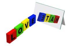 Amour ou haine Images libres de droits