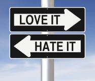 Amour ou haine Photos libres de droits