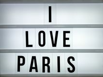 Amour Paris du caisson lumineux i Images stock