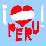 Amour Peru America Drapeau national de vintage en silhouette de style grunge de papier de texture déchiré par coeur Fond de Jour  Photographie stock