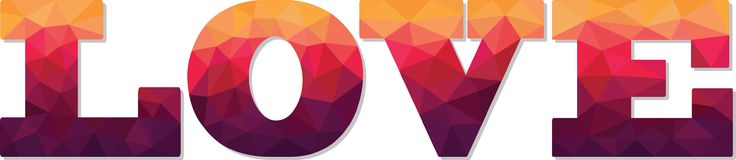 Amour polygonal géométrique des textes de couleur Photographie stock