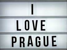 Amour Prague du caisson lumineux i Photographie stock