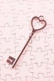 Amour, puzzle de clé de concept de valentine Photos libres de droits