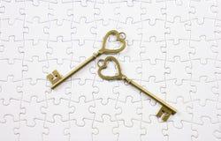 Amour, puzzle de clé de concept de valentine Image libre de droits