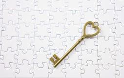 Amour, puzzle de clé de concept de valentine Images libres de droits