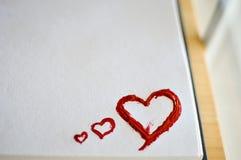Amour rouge de coeur Peintures de pétrole d'art (acryl) Le jour de Valentine Image stock