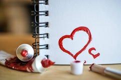 Amour rouge de coeur Peintures de pétrole d'art (acryl) Le jour de Valentine Images libres de droits