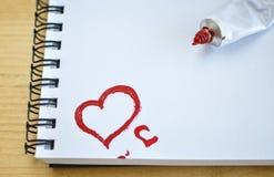 Amour rouge de coeur Peintures de pétrole d'art (acryl) Le jour de Valentine Image libre de droits