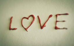 Amour rouge de coeur Peintures de pétrole d'art (acryl) Le jour de Valentine Photographie stock libre de droits