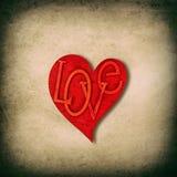 Amour rouge de coeur texture de papier utilisée carton sale Photos stock