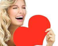 Amour rouge du ` s de valentine de coeur de visage de beauté de femme Photographie stock
