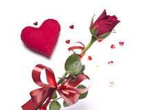 Amour Rouge rose et coeur Photos stock