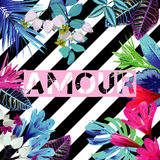 Amour slogan. Tropical exotic floral striped print Stock Images