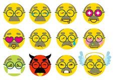 Amour supérieur première génération d'icône de sourire réglé, joie, malade, triste, colère illustration libre de droits