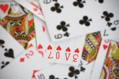 Amour sur jouer des cartes Photo libre de droits