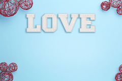 Amour sur le fond bleu Photographie stock