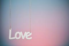 Amour sur le fond bleu et rose Photos libres de droits