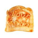 Amour sur le pain grillé Photographie stock