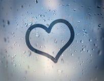 Amour sur le verre humide Image libre de droits