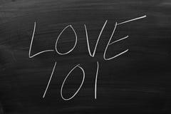 Amour 101 sur un tableau noir Image stock