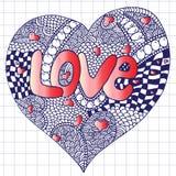 Amour tiré par la main de mot Image libre de droits