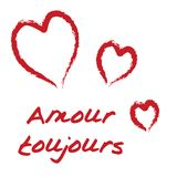 Amour toujours. Handwritten text heart love amour toujours card royalty free illustration