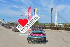 Amour Tyumen de l'objet I d'art sur le remblai de la rivière de Tura dans Tyumen, Russie Photo stock