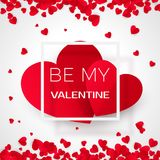 Amour valentine card with message - By my valentine. Holiday 14 february.  Vector illustration.  Royalty Free Stock Photo
